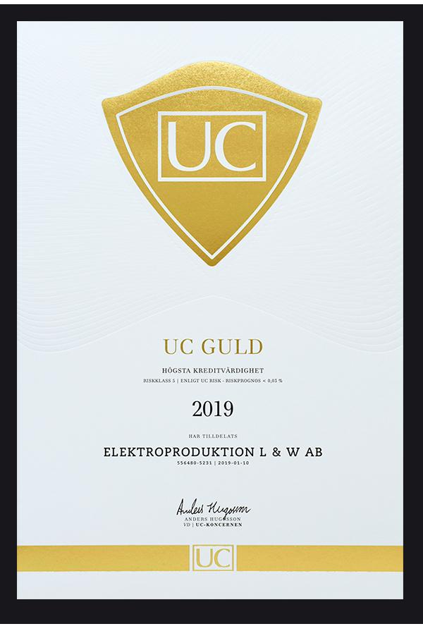 Högsta kreditvärdighet UC guld för Elektroproduktion AB